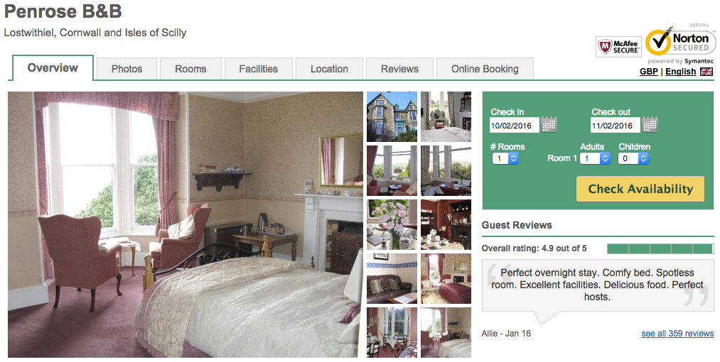 Penrose B&B booking using Eviivo